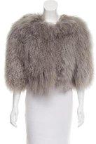 Alice + Olivia Mongolian Lamb Fur Three-Quarter Sleeve Jacket w/ Tags