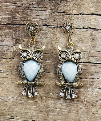 Besheek BeSheek Women's Earrings WHITE - White Rhinestone & Goldtone Antiqued Owl Drop Earrings