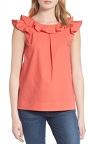 J.Crew J. Crew Ruffle Cotton Poplin Top (Regular & Petite)