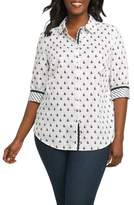 Foxcroft Ava Sailboat Print Non Iron Cotton Shirt