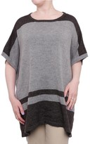 Vince Camuto Modern Edge Poncho Women Plus Cotton Blend US 0X Gray Sweater