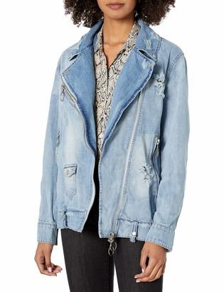 Bagatelle Women's Distressed Oversized Biker Jacket