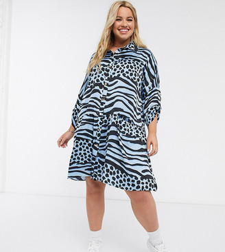 Liquorish Plus mini oversized shirt dress with pleated hem in contrast blue animal print