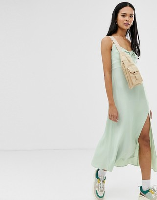 Stradivarius tie front satin dress in mint-Blue