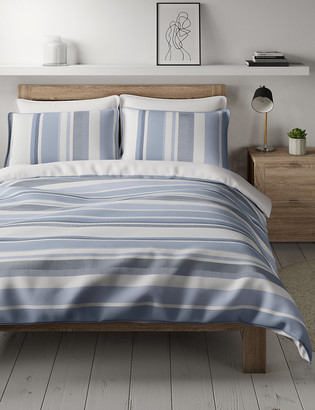 Marks and Spencer Pure Cotton Striped Bedding Set
