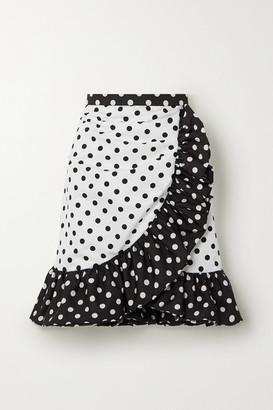 Rodarte Ruffled Polka-dot Twill Mini Skirt - White