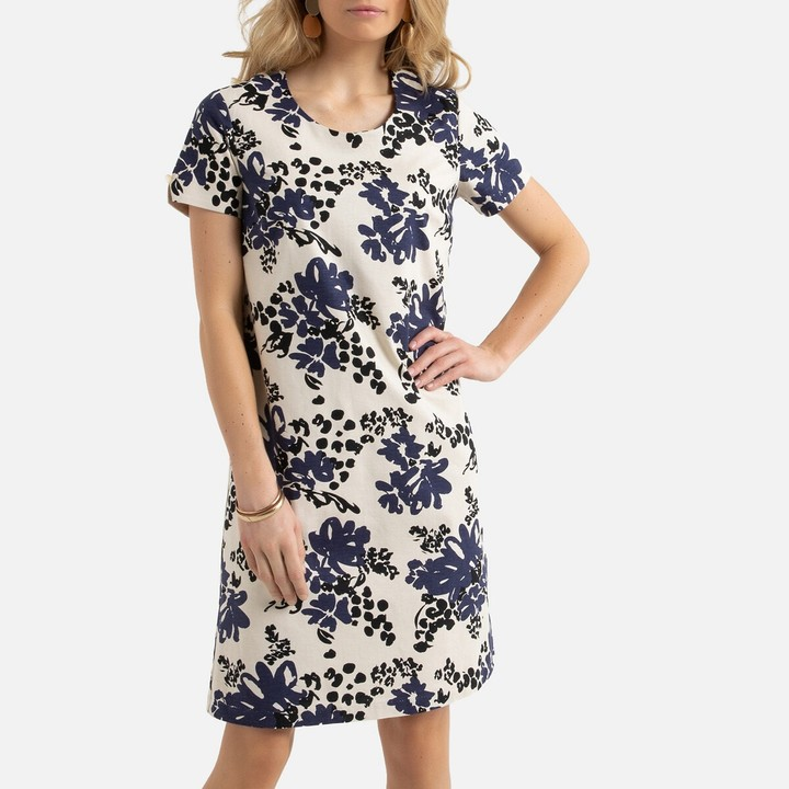 Anne Weyburn Linen Mix Tunic Shift Dress in Floral Print with Short Sleeves