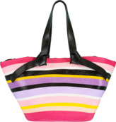 Emilio Pucci Black and Multi Color Striped Tote