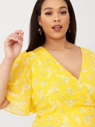V By Very Curve Wrap Front Maxi Tea Dress - Yellow Floral