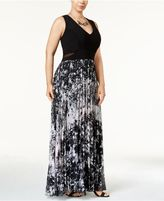 Xscape Evenings Plus Size Printed Pleated Chiffon Gown