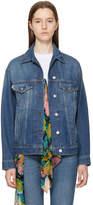 MSGM Blue Stamped Denim Jacket