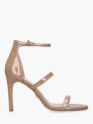 Kurt Geiger London Park Lane Stiletto Heel Sandals, Brown Camel Patent