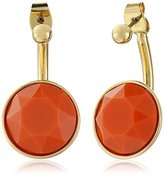 "Trina Turk Retro Sport"" 2 Part Stone Drop Gold Orange Drop Earrings"
