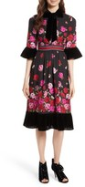 Kate Spade Women's Scattered Rose Velvet Trim Silk Dress