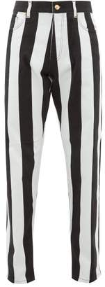 Versace Striped Baroque-print Jeans - Mens - Black White