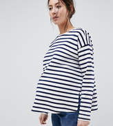 Asos DESIGN Maternity Stripe Top In Baby Loop Back