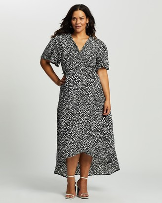 Missguided Curve Plus Dalmatian High Low Midi SS Dress