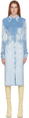 Kwaidan Editions SSENSE Exclusive Blue Velvet Button Down Dress