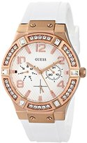 GUESS Women's U0426L1 Stunning Rose Gold-Tone Multi-Function Watch on a Comfortable White Silicone Band with Day & Date Functions