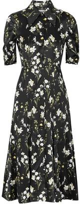 Erdem Gisella Black Floral-print Silk-satin Dress