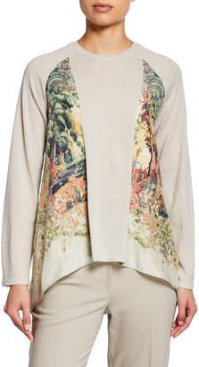 Etro Lightweight Castle-Print Silk Paneled Sweater
