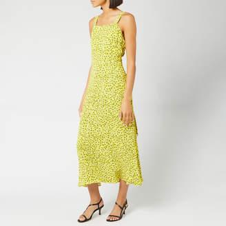 Whistles Women's Llora Clouded Leopard Dress - Yellow/Multi - UK 6 - Yellow