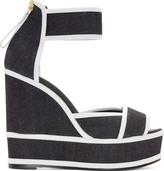 Pierre Hardy Navy Denim Wedge Sandals