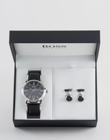 HUGO BOSS BOSS By Leather Watch & Cufflink Gift Set