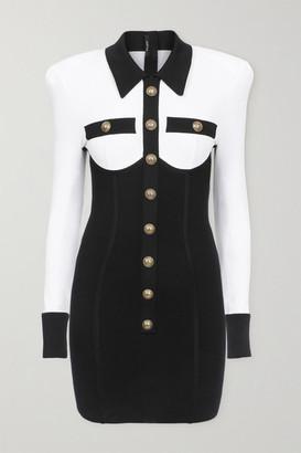 Balmain Button-embellished Two-tone Stretch-knit Mini Dress - Black