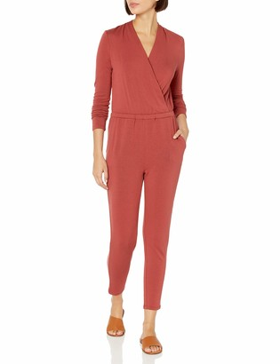 Daily Ritual Women's Supersoft Terry Standard-Fit Long-Sleeve Wrap Jumpsuit