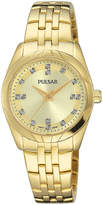 Pulsar Ladies Night Out Womens Crystal Accent Gold-Tone Bracelet Watch