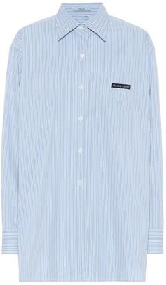 Prada Oversized striped cotton-blend shirt
