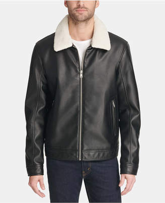 Tommy Hilfiger Men Faux Leather Jacket with Removable Sherpa Collar