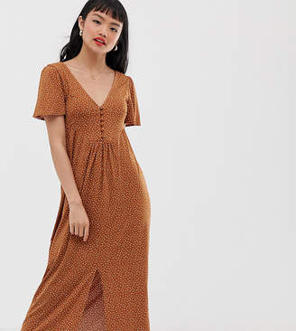 Asos DESIGN Petite jersey crepe maxi tea dress with self covered buttons in brown spot-Multi