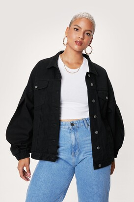 Nasty Gal Womens Sleeve Room for Me Plus Organic Denim Jacket - Black - 20