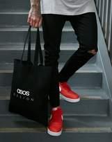 Asos Design ASOS DESIGN organic cotton tote bag in black with text print