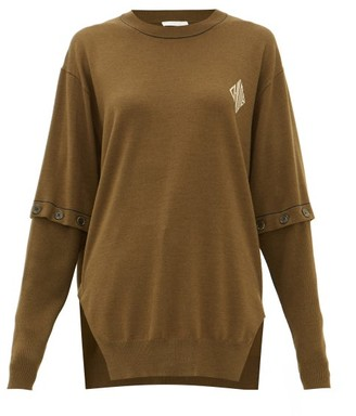 Chloé Detachable-sleeve Wool Sweater - Khaki