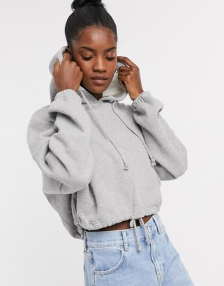 Topshop hoody with drawstring waist in gray marl