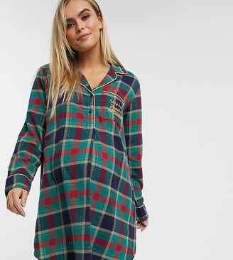 Chelsea Peers Maternity popper front check night dress