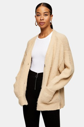 Topshop Womens Camel Brushed Ribbed Midi Knitted Cardigan - Camel