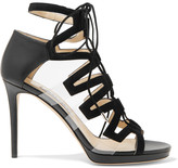 Jimmy Choo Dani lace-up leather, suede and acrylic sandals