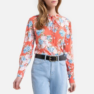 Kaporal Grandad-Collar Blouse with Tie-Neck