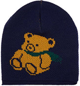 Gucci Men's Teddy Bear Stockinette-Stitched Wool Beanie-NAVY, GREEN, YELLOW, BLUE