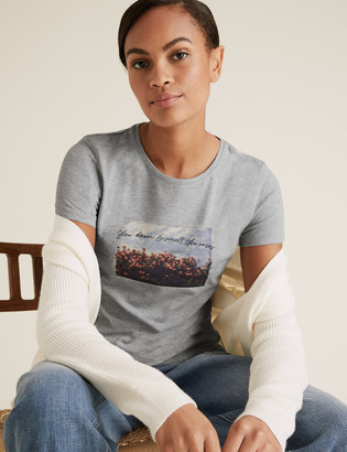 Marks and Spencer Cotton Rose Print Crew Neck Fitted T-Shirt