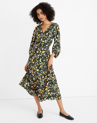 Madewell Apiece Apart Silk Floral Sierra Wrap Dress