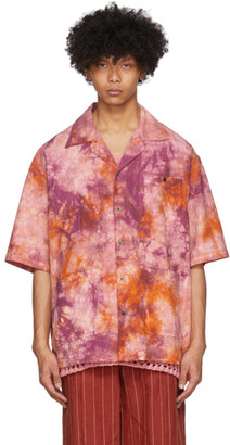 Nicholas Daley Orange and Pink Aloha Shirt