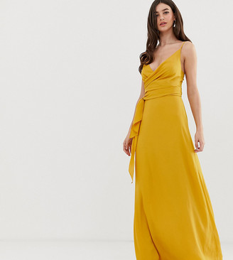 Asos Tall DESIGN Tall cami wrap maxi dress with tie waist-Yellow