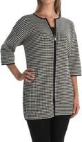 Joan Vass Grid Car Coat - 3/4 Sleeve (For Women)