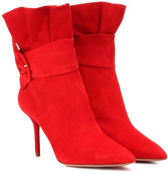 Aquazzura Palace 85 suede ankle boots