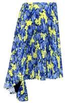 Balenciaga Floral-printed plissé midi skirt